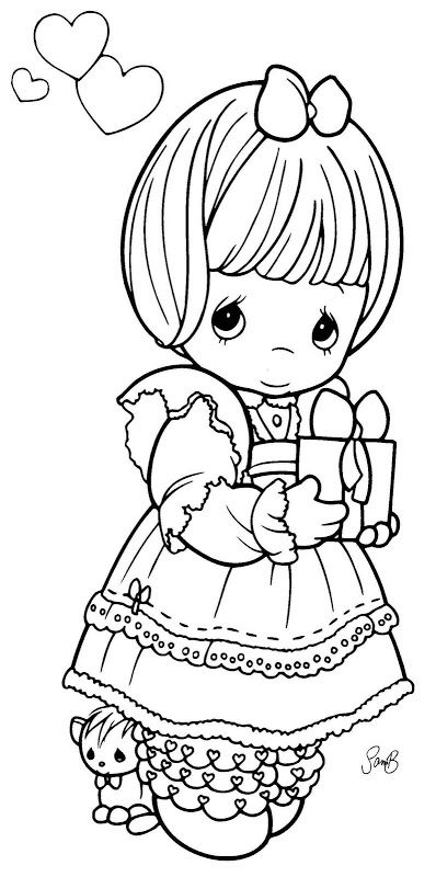 Girl with a present precious moments coloring pages | Coloring Pages