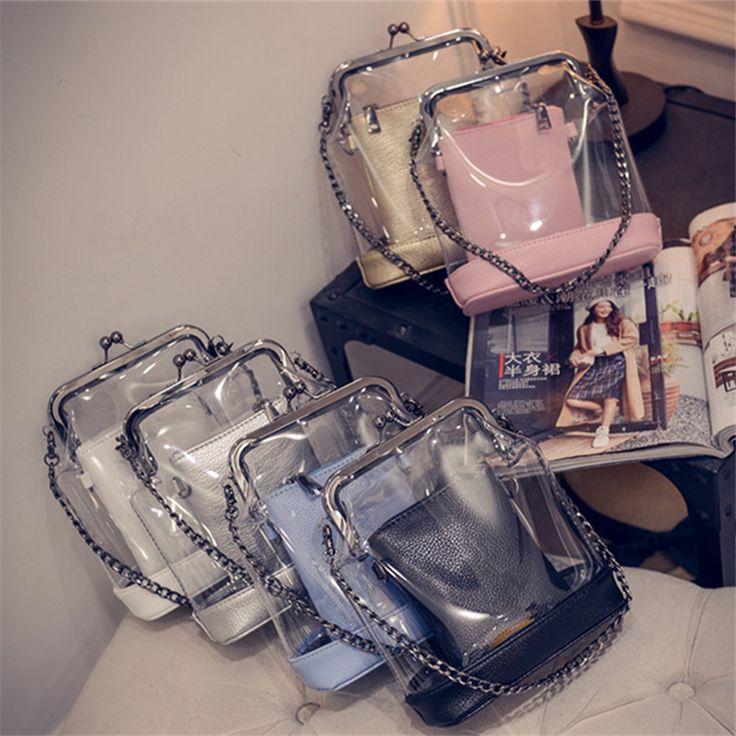 ¥33 = S$6.65     2016新款女包潮欧美时尚透明果冻链条包单肩斜挎子母小包包夹子包-淘宝网