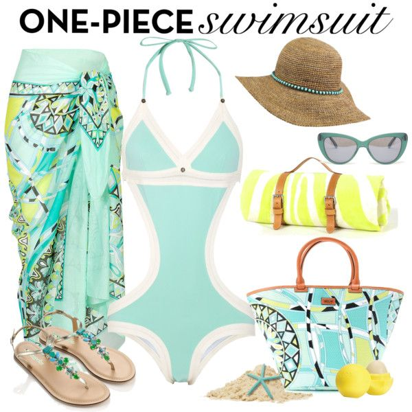 Mint One-Piece, created by maggie478 on Polyvore