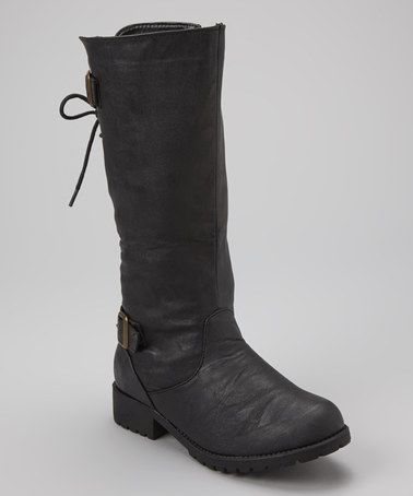 Black back lace up boot by carrini