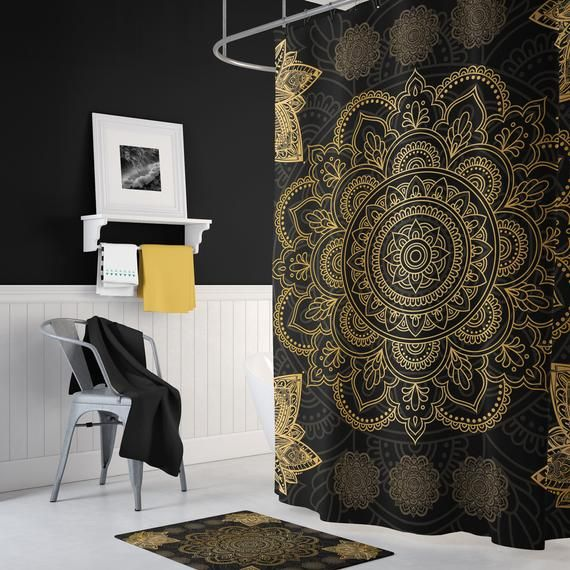 Black And Gold Bath Mat Mandala Bath Mat Bath Mat Set Boho Bath Mat Bathroom Decor Mandala Shower Curtains Bath Rug Bath Decor Black Gold Bathroom Gold Shower Curtain Mandala Shower
