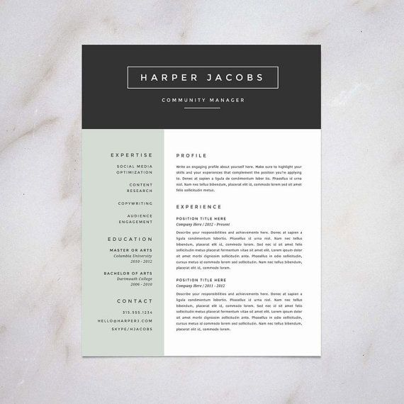 Professional Resume Template And Cover Letter Template For Word | DIY  Printable 4 Pack | The Brooke | Modern And Creative 2 Page CV Design
