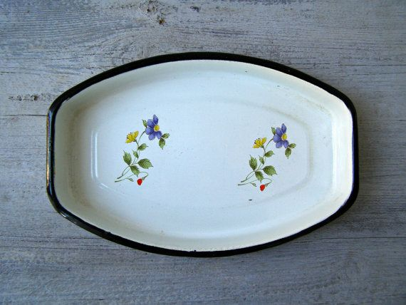 Enamel Baking Dish Oval Serving Platter Floral  by MeshuMaSH