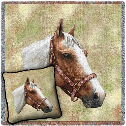Pinto Horse Woven Blanket and Pillow Set