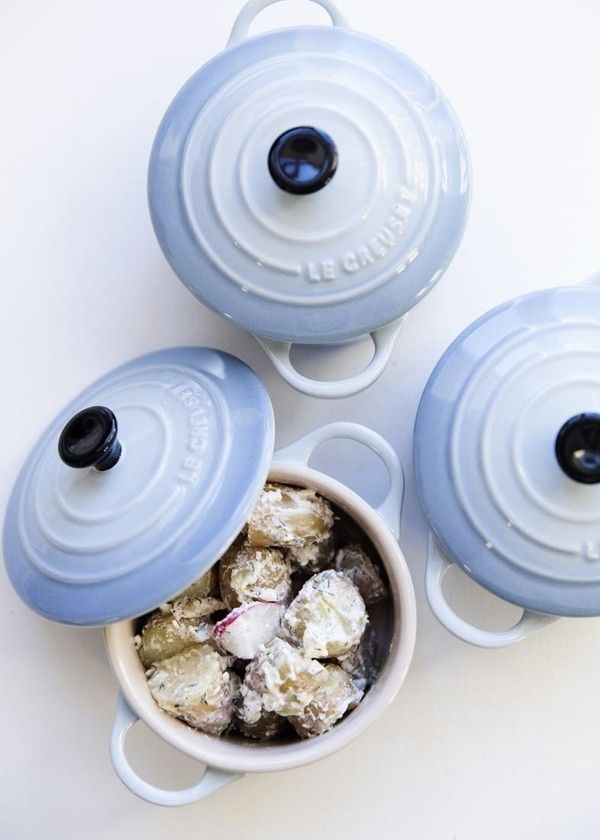 "Le Creuset mini cocottes in ""Coastal Blue.""  Love!"