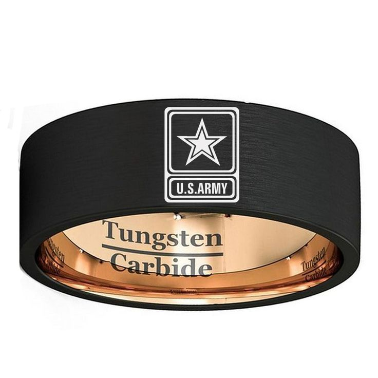 Men's Black Tungsten Carbide Wedding Band 8mm Rose Gold Color Military Ring US Army Logo Lasered Outside Size 7 to 13