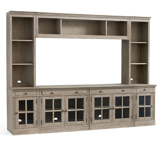 Livingston 7-Piece Entertainment Center With File Cabinets, Gray Wash