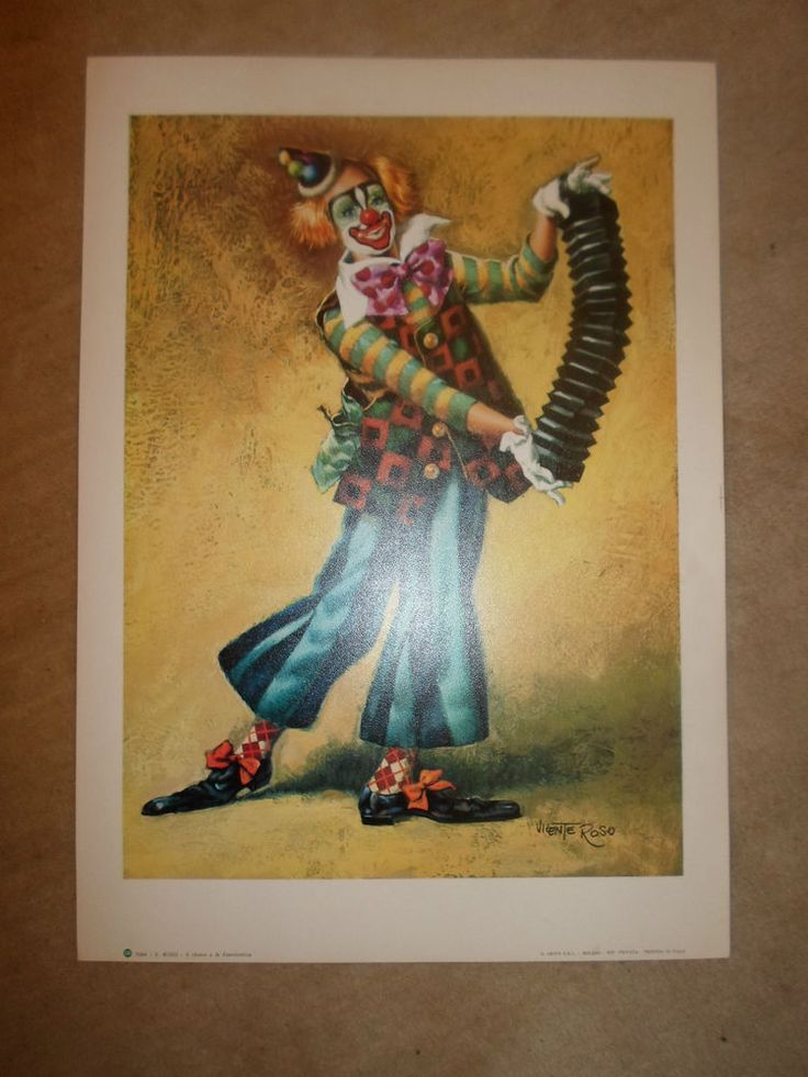 Vicente Roso Colourful Art Print 1084  The Clown And The Accordian  Italian