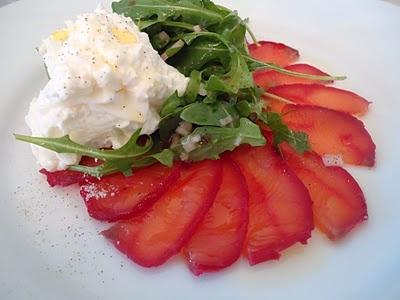 Beet Cured Salmon Gravlax with Wild Arugula Salad
