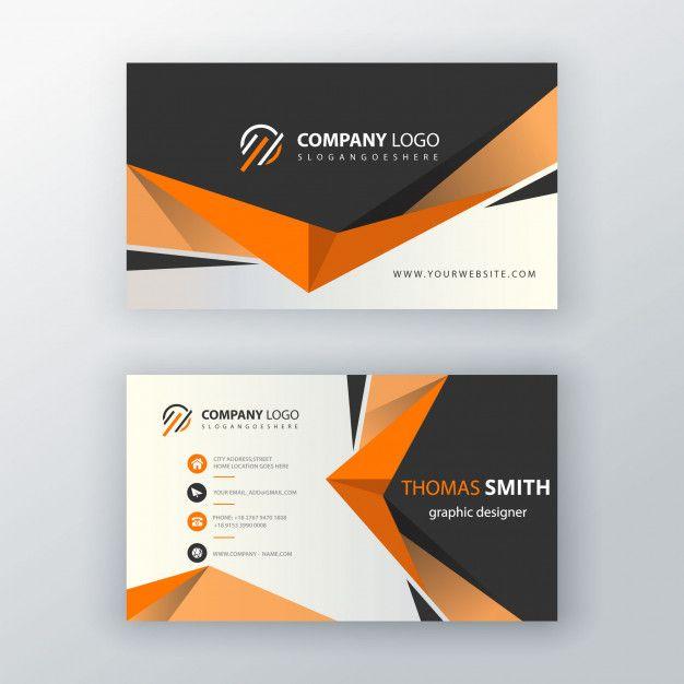 Download Orange Shape Visit Card For Free Vector Business Card Free Business Cards Free Business Card Design