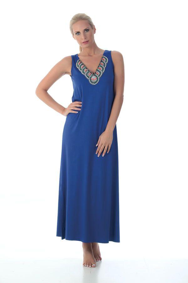Claire Katrania Μάξι Φόρεμα Μπλε Ρουά C-7826 | Tartora.gr