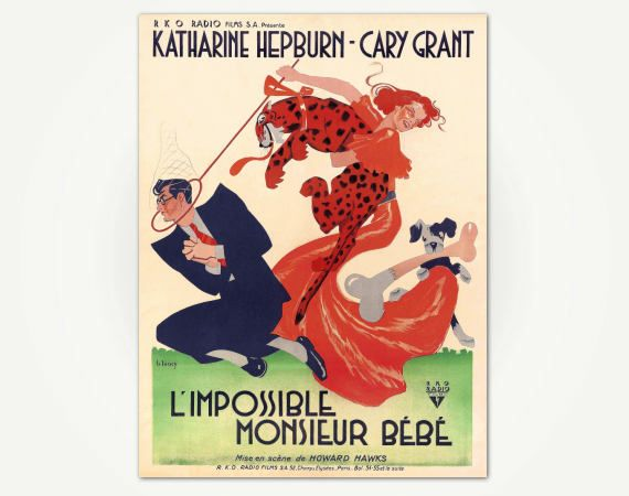 Print of vintage poster for the classic 1938 R.K.O. film Bringing Up Baby, which stars Cary Grant and Katharine Hepburn. This is the wonderful version produced for France, where the film is titled LImpossible Monsieur Bébé.  ABOUT YOUR PRINT … Large format posters are printed on fine art paper thats acid free, 10mil+ matte finish using archival inks. Postcard sizes (e.g. 4x6, 5x7) are printed on heavy weight matte finish postcard stock, using the same inks and process as the large format…