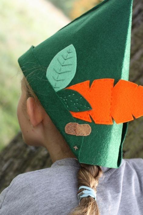 Be whoever you want to be...Peter pan, Lost Boy (or girl), Robin Hood, elf, pixie, Ranger. Go for it, the only limit is your imagination. Made with a 2mm thick green felt and trimmed with felt feathers, leaves and acorn. All hand embroidered. I wear one while thinking up new designs ;) Dimensions - Large - 38 x 23 cms.  Price - £8