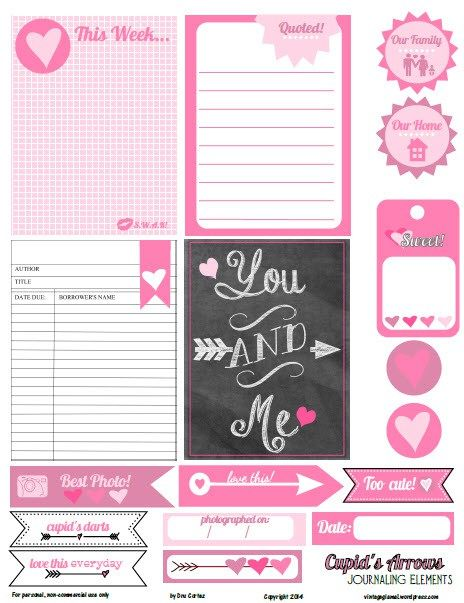 Free Cupids Arrows Journal Cards and Labels from Vintage Glam Studio