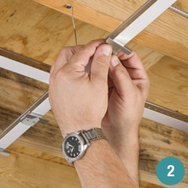 Attach Ceiling Planks To An Existing Drop Ceiling Grid With Special Clips For A Fresh Wood Look Ceiling Retr Dropped Ceiling Basement Ceiling Drop Ceiling Grid