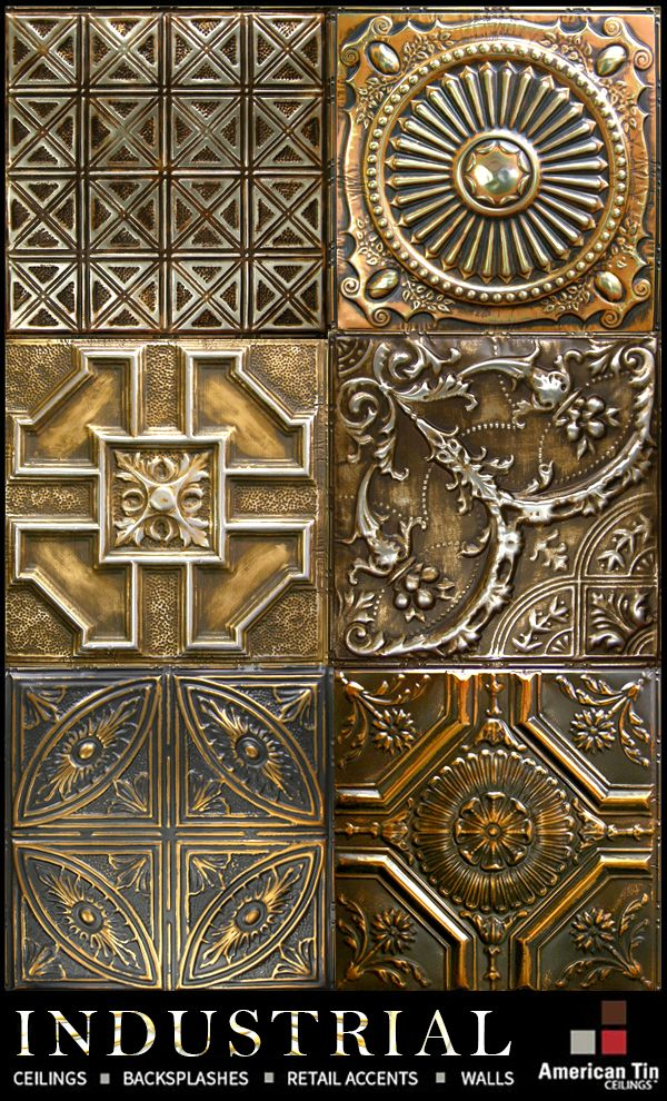 Industrial / Steampunk authentic tin tiles for ceilings, backsplashes, retail and restaurants, and more.  Starting at $7 a tile - see more: http://www.americantinceilings.com/color.html?utm_source=pinterest&utm_medium=social&utm_campaign=artisancolors&cpao=138&cpca=pinterest&cpag=social&kw=artisan