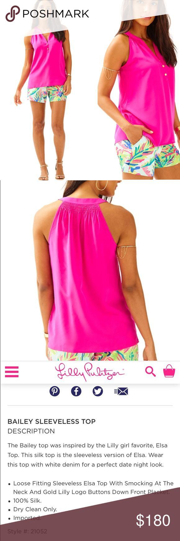 XL 100% Silk Bailey Top Magenta Lilly Pulitzer Bailey Top - Magenta. Size XL. OUT OF STOCK. Model pics and product info from Lilly website, actual item pictured 100% silk! Not 100% sure if I want to sell or keep so price is very firm Lilly Pulitzer Tops