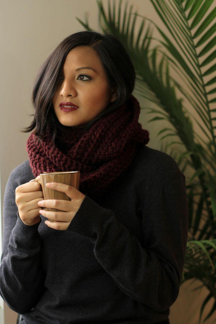 Coffee, and cozy circle scarf. Miyuki Crochet