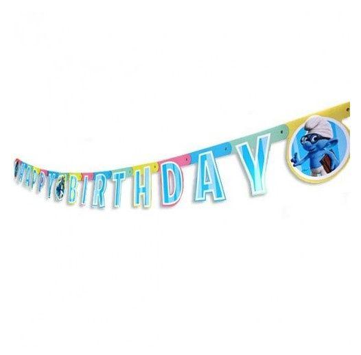 De Smurfen letterslinger Happy Birthday