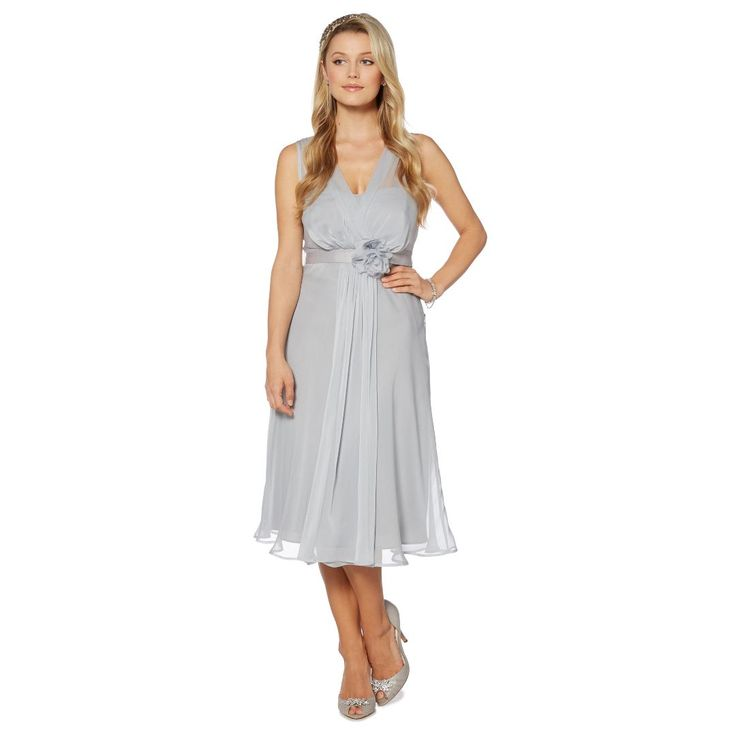 Pale grey corsage detail midi dress | Bridesmaids ...