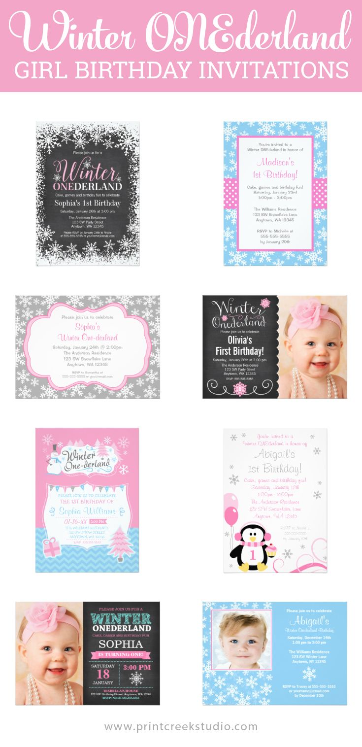 Winter ONEderland Girl First Birthday Party Invitations
