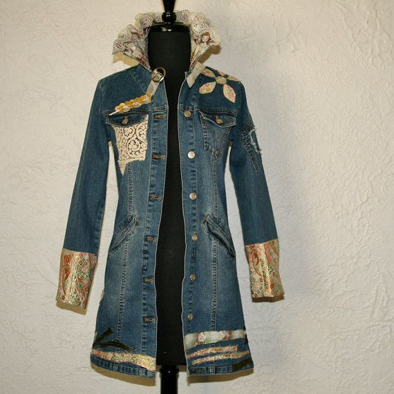 upcycled clothing . denim jacket . heart on the line by pondhopper