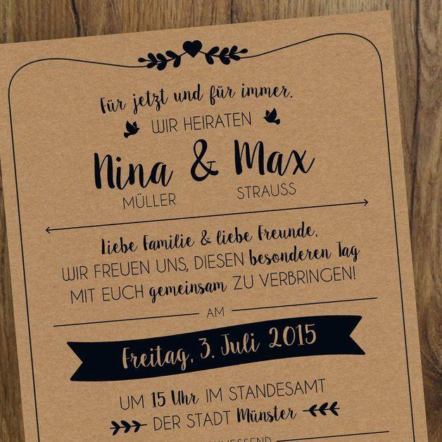 Einladungskarten – Hochzeit   Einladung   Vintage – ein Designerstück von messi…