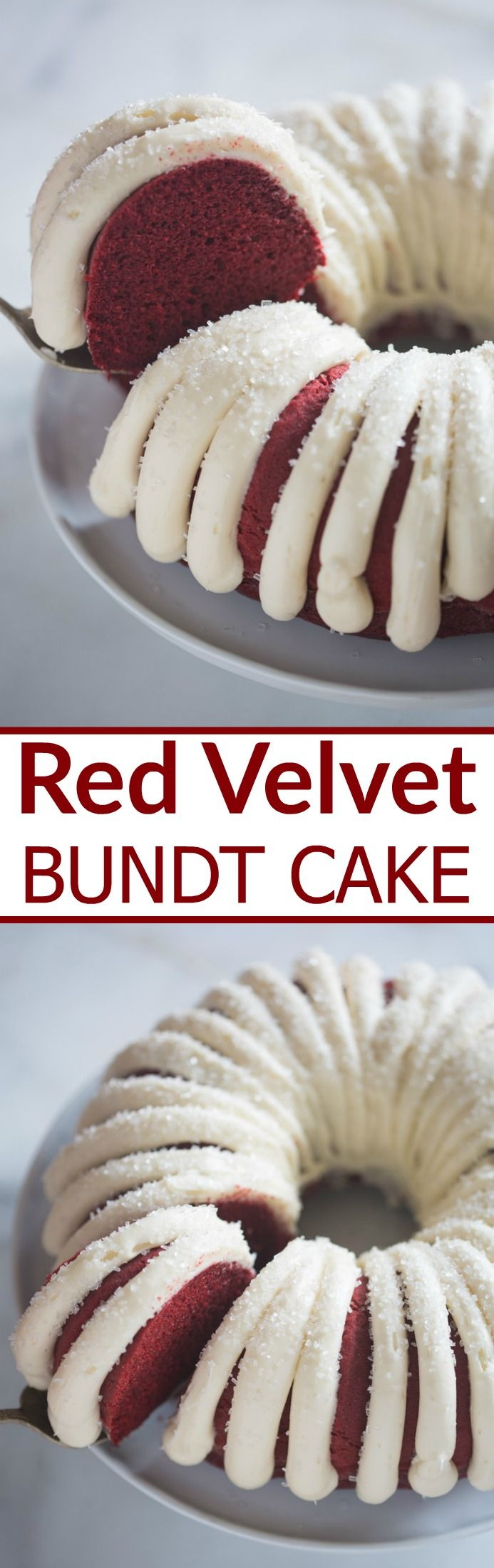Moist and tender Red Velvet Bundt Cake with cream cheese frosting. Add some chocolate chips for a an even more delicious chocolate flavor.   Tastes Better From Scratch