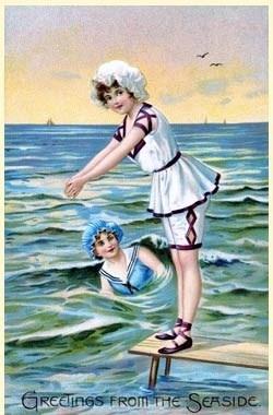 """Greetings from the Seashore"" vintage postcard"
