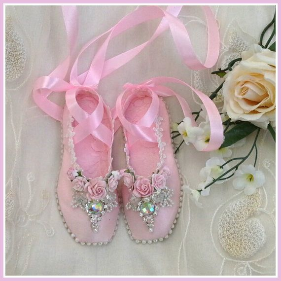 Handmade shabby chic ballet shoes , ballet slippers, pointe shoes, decorated ballet shoe, altered ballet shoes, ballerina slippers,