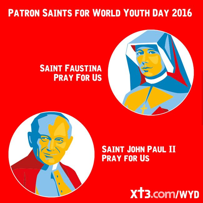 Saints Faustina and John Paul II, Patron Saints for World Youth Day 2016, #PrayforUs  http://www.xt3.com/wyd2016/library/view.php?id=18820&categoryId=56