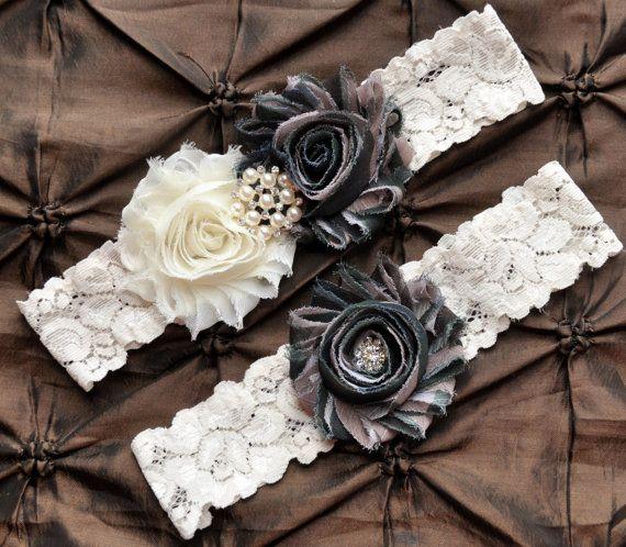 Wedding Garter Belt, Bridal Garter Set - Ivory Lace Garter, Keepsake Garter, Toss Garter, Camo Wedding Garter, Hunting Wedding Garter, Army on Etsy, $22.00