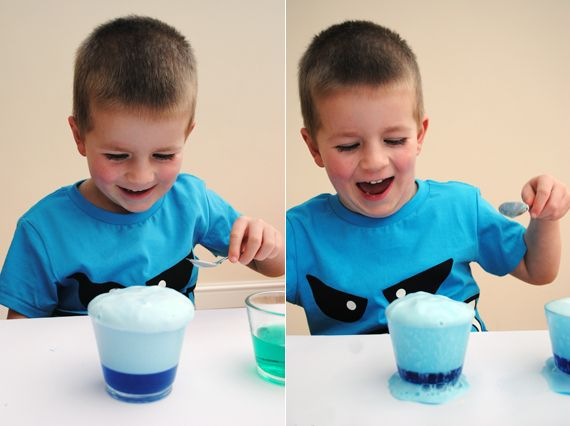 fizzy magic rocks, one clear container, fill halfway with white vinegar. add one quirt of washing up liquid,add a few drops of food coloring then add a heaped teaspoon of baking soda = super fun!