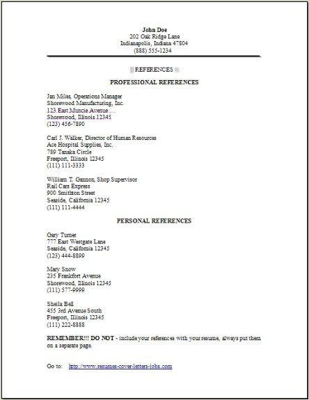 professional references template