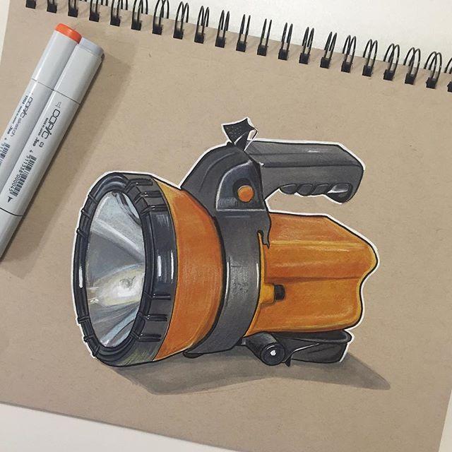 Flashlight sketch #industrialdesign #productdesign #ID #sketching #idsketching…