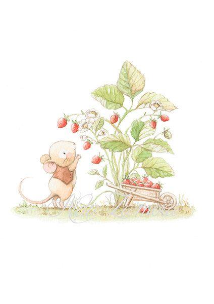 Maus Erdbeeren pflücken Dekorfolie Druckbogen. Kinder Illustration. Erdbeeren sind so gut! Es ist eine Reproduktion von meine ursprüngliche, gedruckte Abbildung mit Details auf Spezialpapier für Aquarell von 200 g. weiß Natur Matt, frei von Säuren und 100 % Zellulose, die Darstellung der