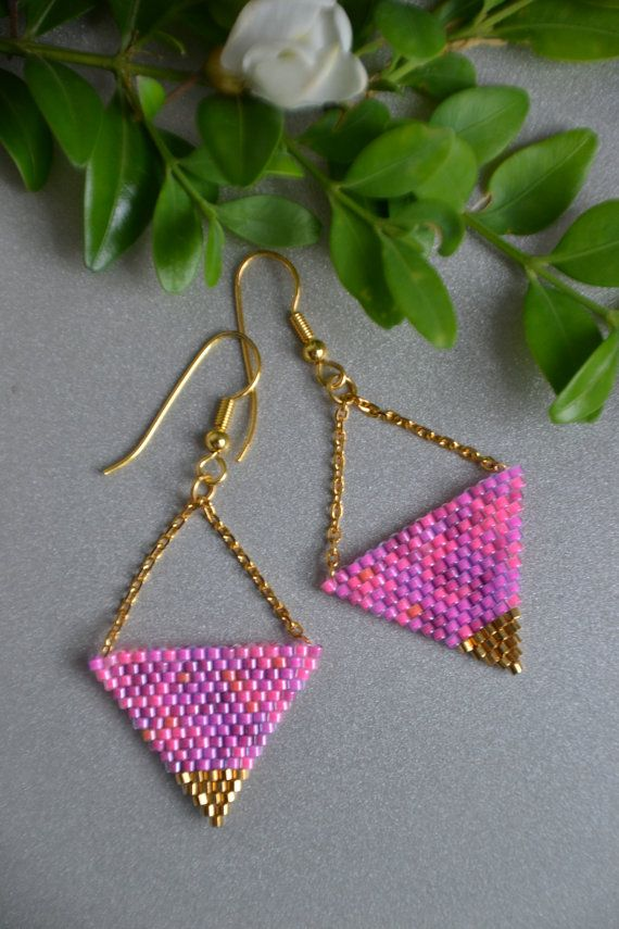 Summer colorful earrings, pink and gold colors.  Quality Japanese seed beads and gold plated chain and clasps.
