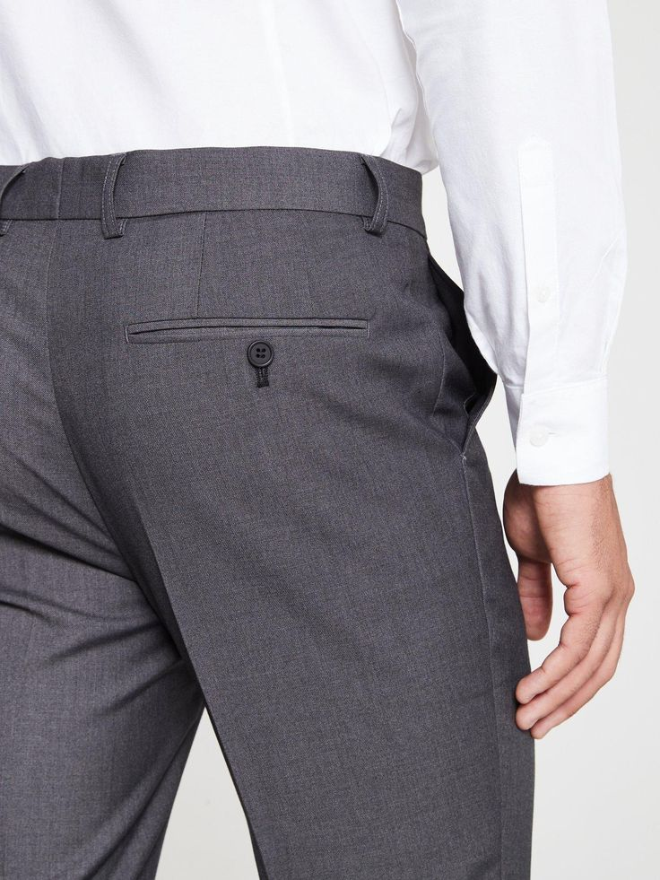 V By Very Slim Suit Trousers – Grey, Charcoal, Size 32, Length Long, Men – Charcoal – 32, Length Long