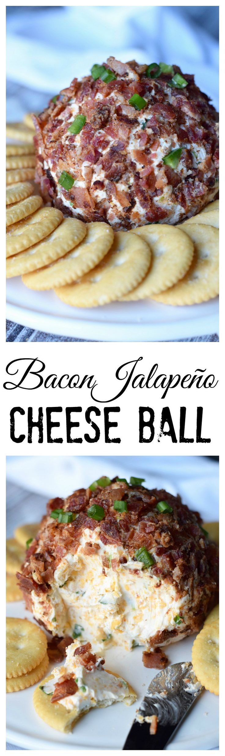 This bacon jalapeño cheese ball  is loaded with great flavor.