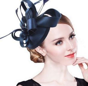 Beautiful satin and feather navy blue fascinator Perfect for your wedding, church, horse races, formal events and tea parties Color: Navy Blue in