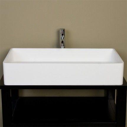 Large Cosima Rectangular Resin Vessel Sink   White Matte Finish