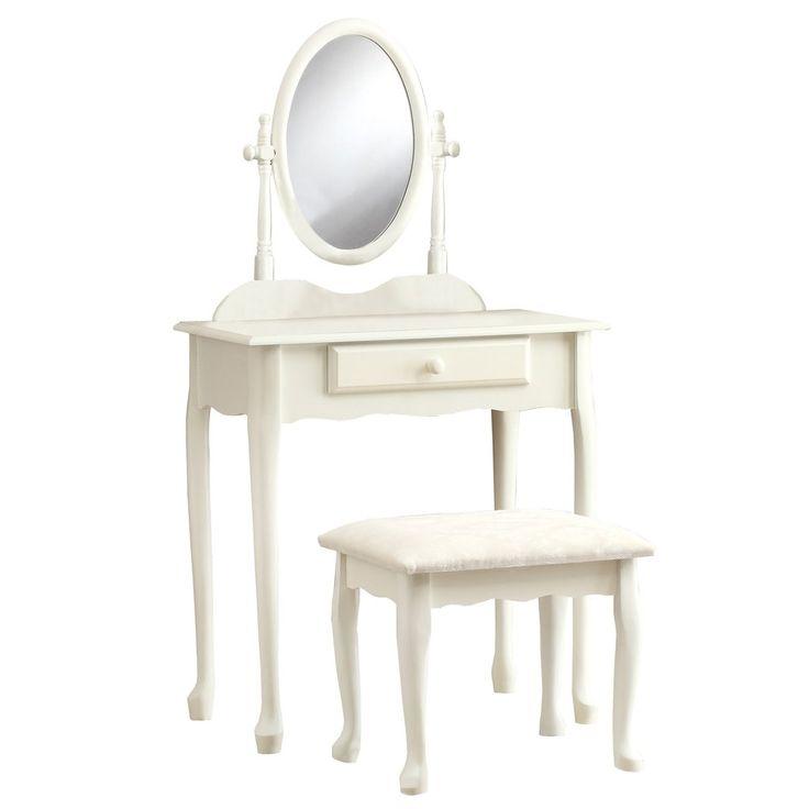 Monarch Antique White Vanity Set 2PCS I 3412 – Makeup Vanity Boutique