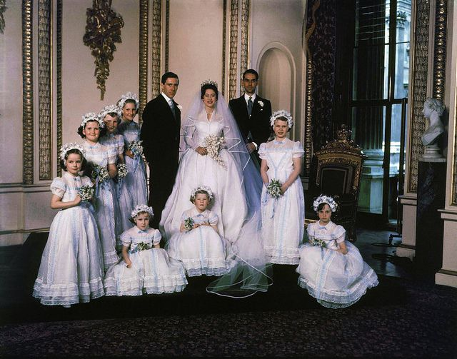 Princess Margaret with husband, Anthony Armstrong-Jones, shown with bridesmaids after their wedding in Westminster Abbey.