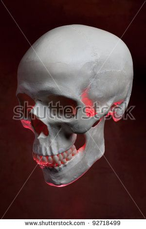 Grim looking red lit skull from side view.