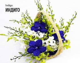 Букеты из орхидей и композиции на стол - Цветочная композиции из орхидей Индиго (Indigo)