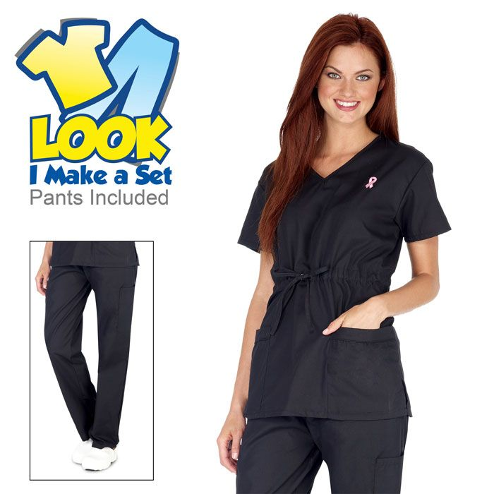 Breast Cancer V-Neck Tie Waist Set - Scrub top and scrub pant included -