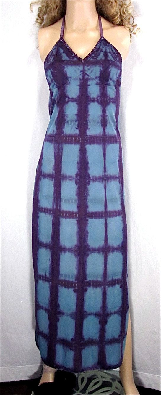 Shibori Dyed Halter Dress 34 SMALL Upcycled Vintage Full Slip Hand Dyed Lingerie Tie Dye Maxi Slip Dress Hippie Nightgown Valentine Lingerie