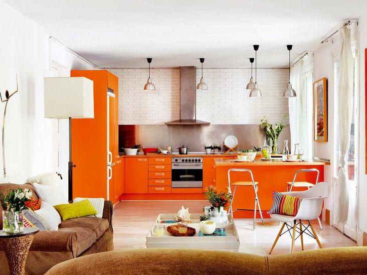 25 best cocinas images on pinterest kitchen ideas - Cocinas color naranja ...