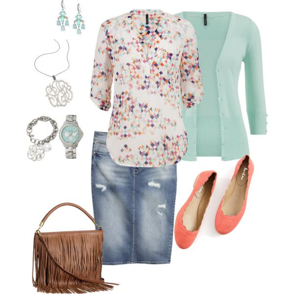 denim skirt, mint cardigan, blouse, mint watch, dangle earrings, monogram necklace and bracelet, flats and a fringe purse. plus size.