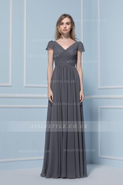 Beautiful Short Sleeved Long Grey Chiffon Bridesmaid Dress
